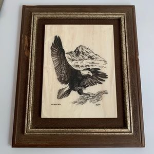 Vintage Bill Devine Eagle Marble Etching